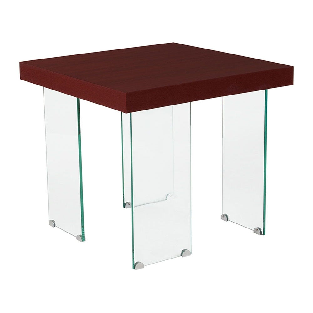 offex forest hills collection red cherry wood grain finish end table with glass legs tables top free shipping today thomasville furniture bedroom sets hammary coffee chunky living