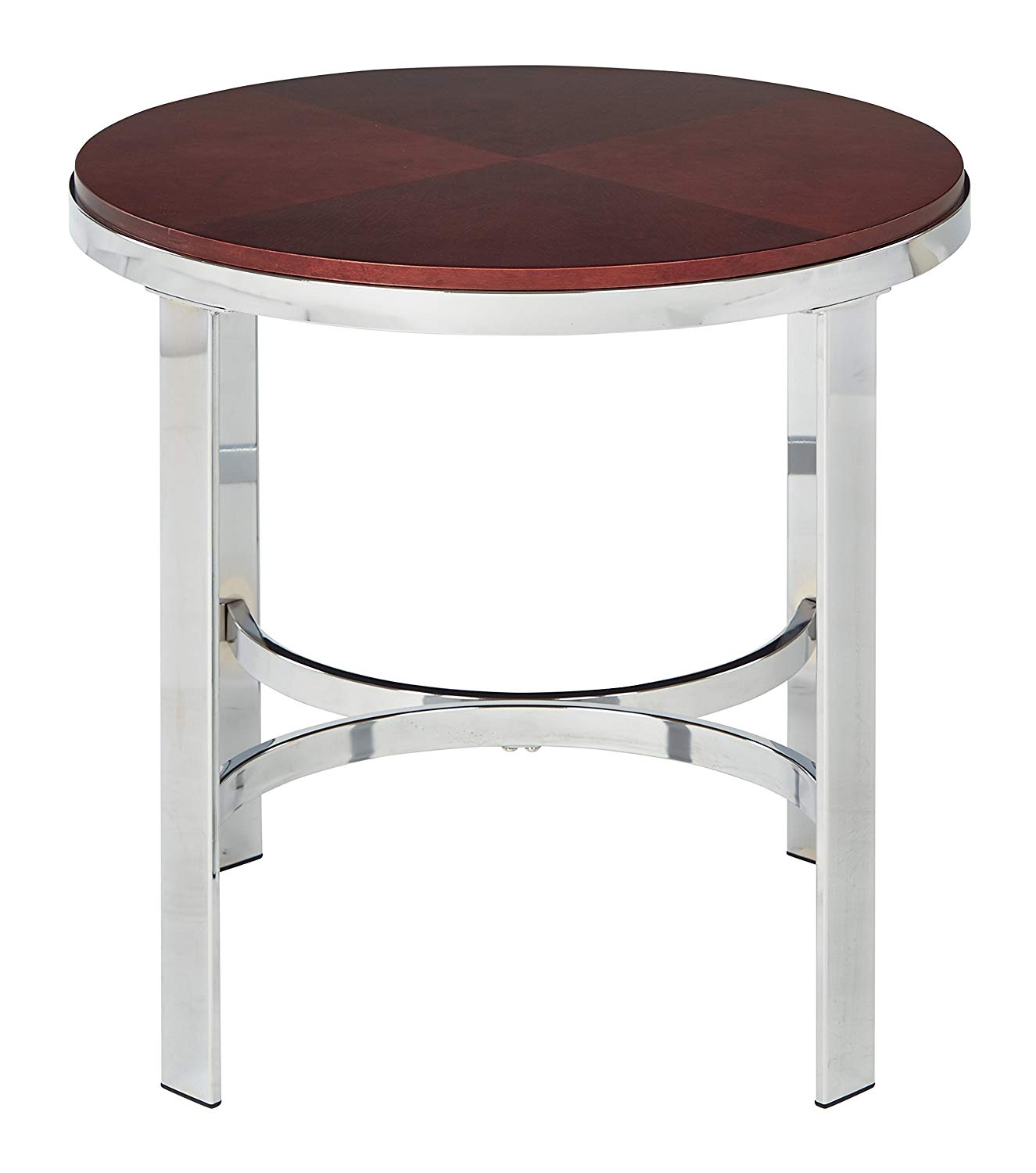 office star alexandria round end table cherry finish top and chrome metal plating legs kitchen dining unstained wood furniture kmart black row accent chairs glass couch mirrored
