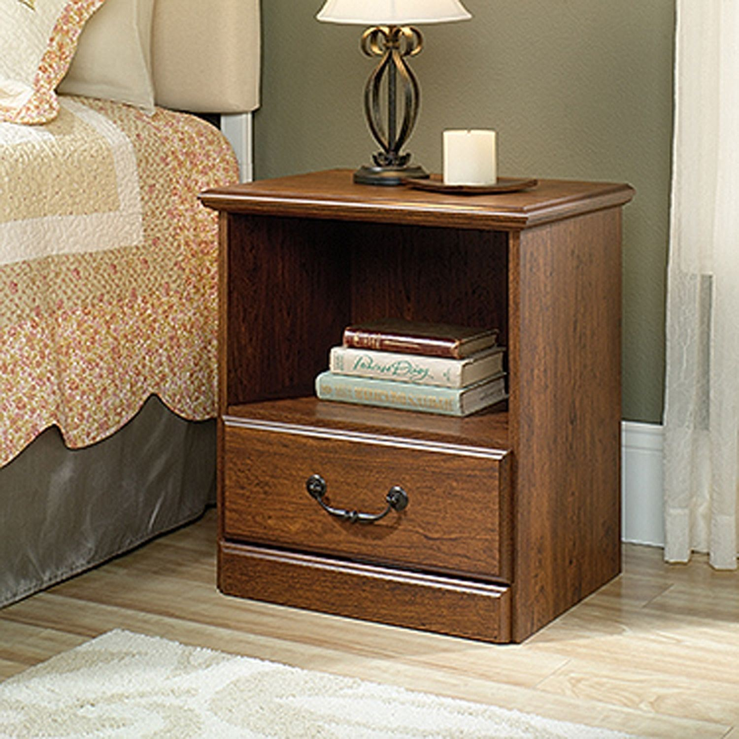 orchard hills night stand milled cherry sauder end table ture ashley furniture dining set with bench oak and chairs round glass top bedside who sells universal whalen llc