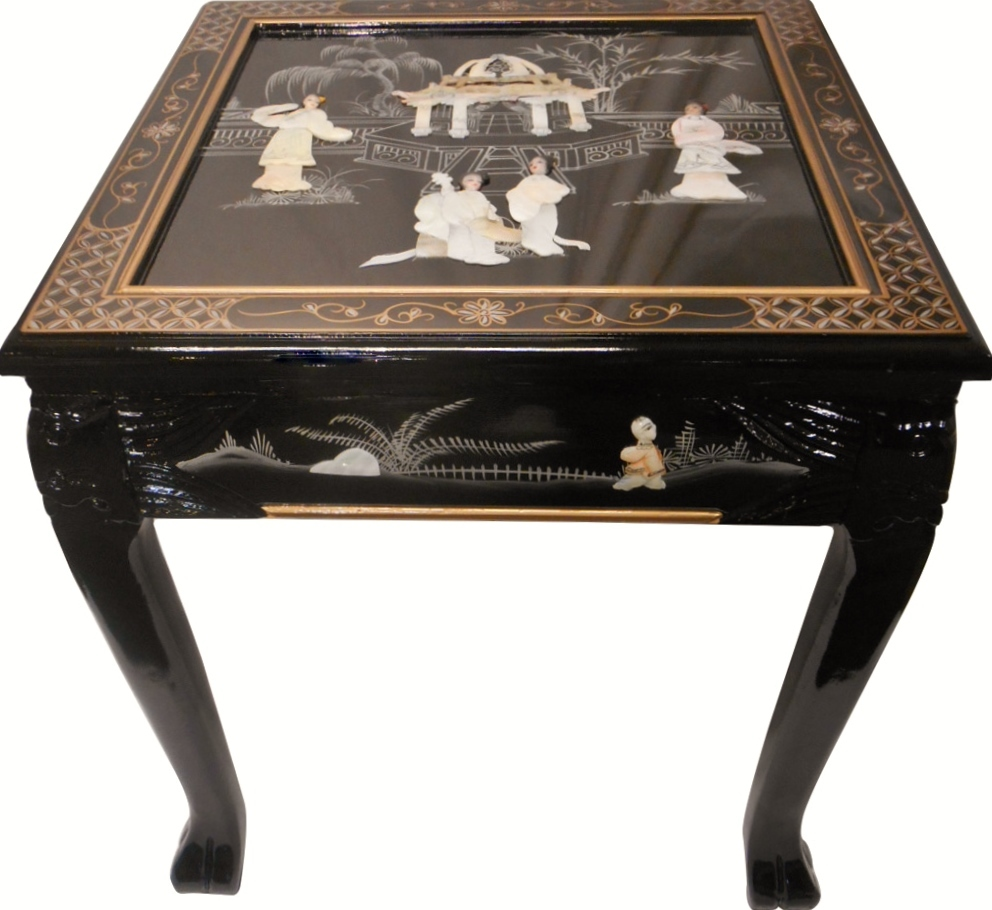 oriental end table inlaid pearl black lacquer with dragon legs tables leg patio furniture clearance closeout silver mirrored bedside modern bases for glass tops average dimensions