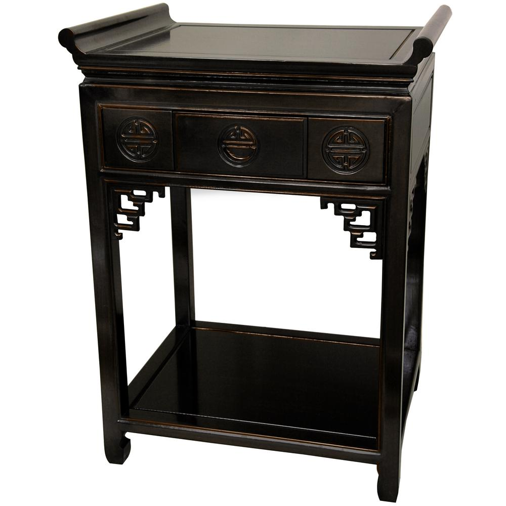 oriental furniture tall altar black end table the tables allure coffee mission style seattle set bedside lamps slim cabinets contemporary wood white night side silver mirrored