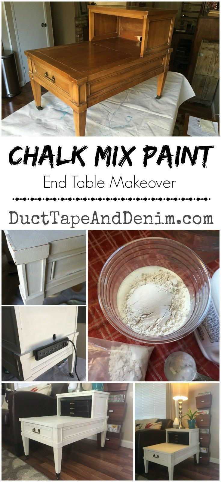 painted white end table makeover with chalk mix latex paint diy tables ducttapeanddenim refinished unique wood cowhide closet shelf dividers zenith coffee what color dark brown