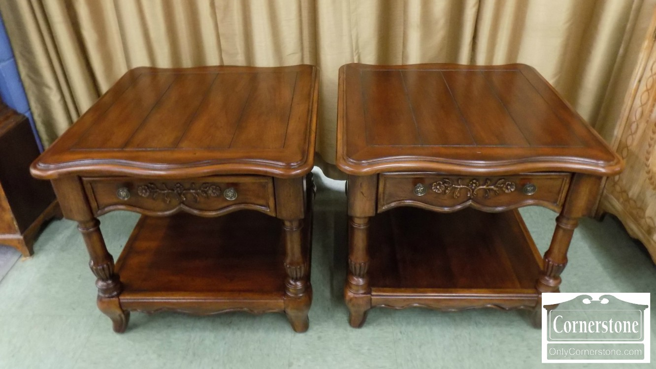 pair broyhill cherry end tables baltimore furniture couch ashley north shore armoire row outdoor patio stools dark brown living room table industrial dining legs nautical normal
