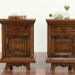 pair carved oak vintage scandinavian nightstands end tables and harp gallery bear accent table what color paint goes with brown couch car mats kmart furniture built pallets 150x150