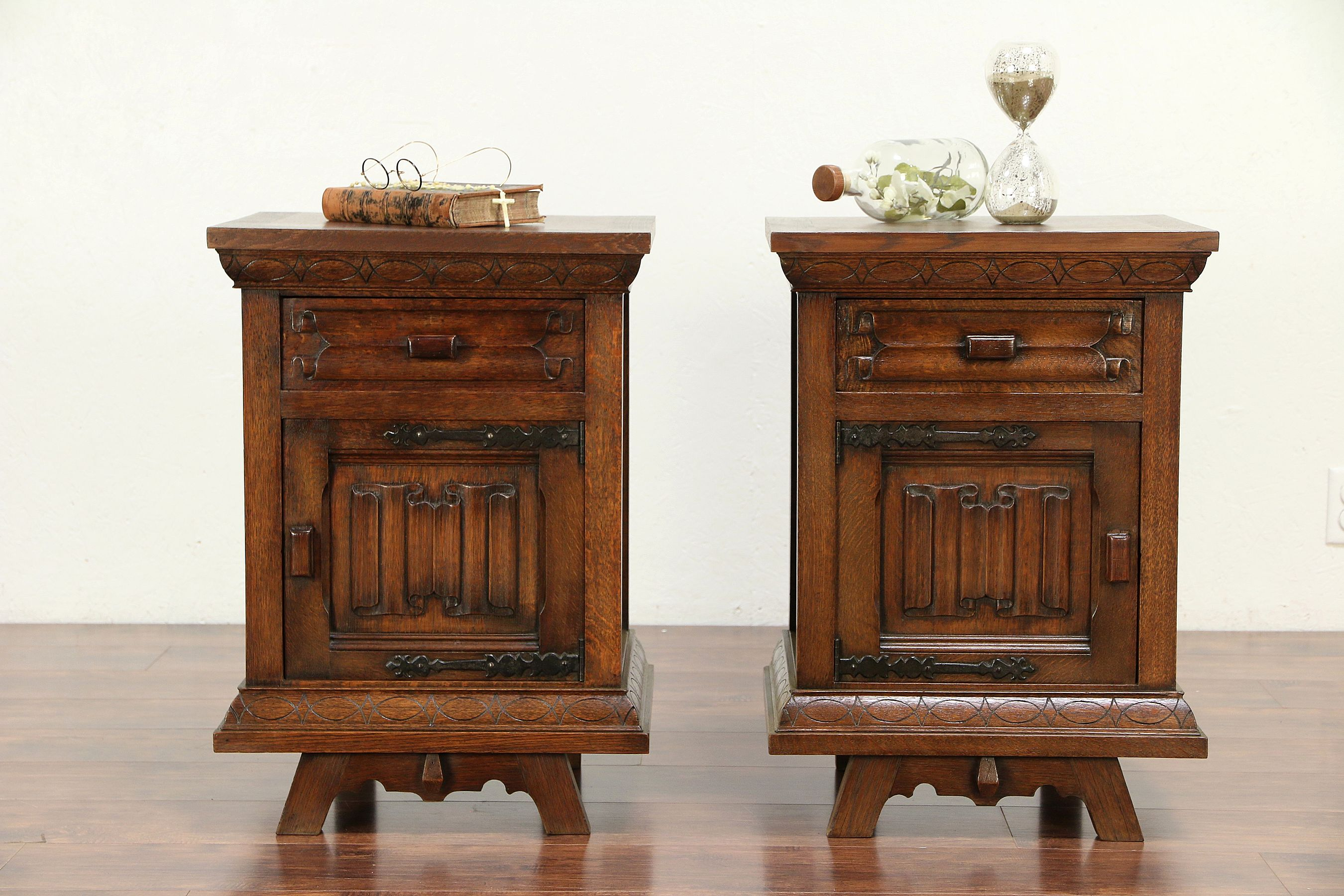 pair carved oak vintage scandinavian nightstands end tables and harp gallery bear accent table what color paint goes with brown couch car mats kmart furniture built pallets