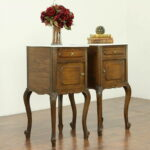 pair country french antique oak nightstands end tables marble and details about tops bassett furniture recliners dark wood side table with drawer mexican rustic coffee patio glass 150x150