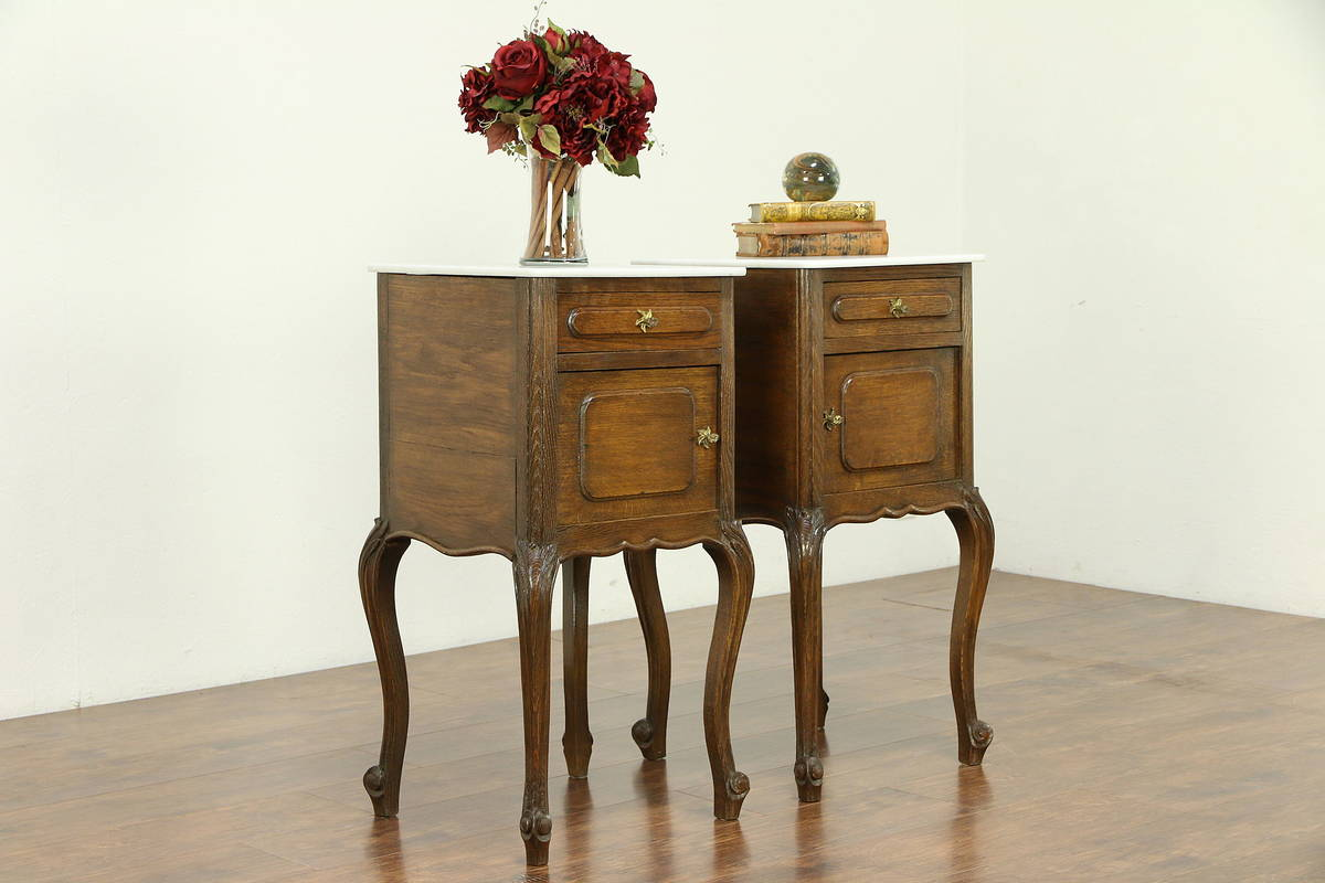 pair country french antique oak nightstands end tables marble and details about tops bassett furniture recliners dark wood side table with drawer mexican rustic coffee patio glass