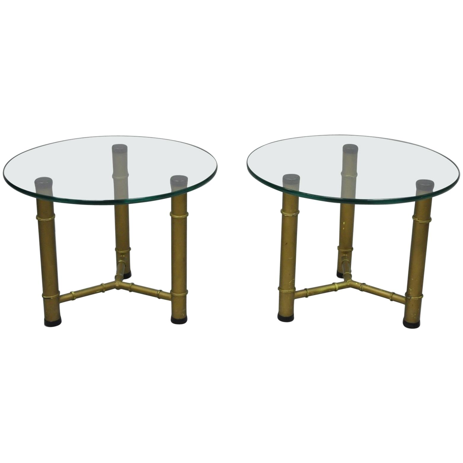 pair metal faux bamboo round glass top low side end tables master table hollywood regency for ethan allen country french three legged lexington recollections bedroom furniture