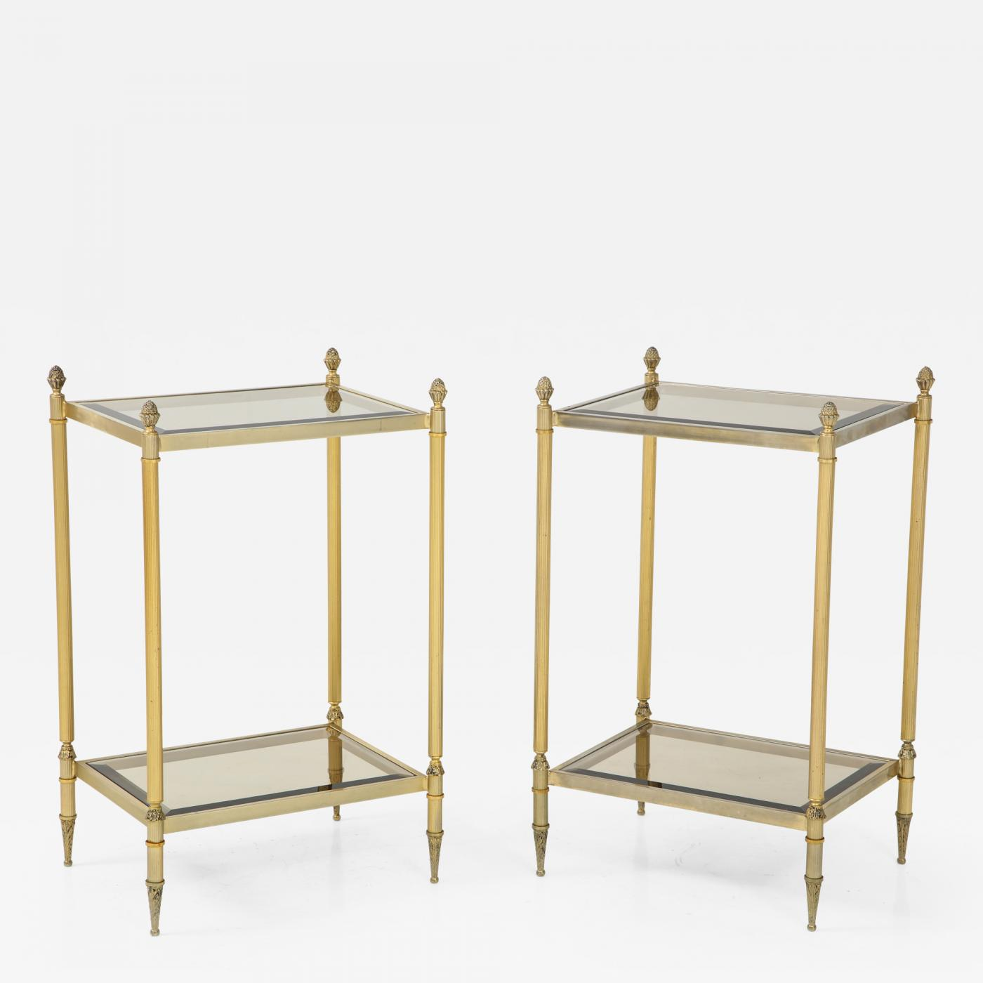 pair mid century brass glass end tables table listings furniture side tainoki small accessory ethan allen american dimensions universal inc powell dining chair laura ashley set