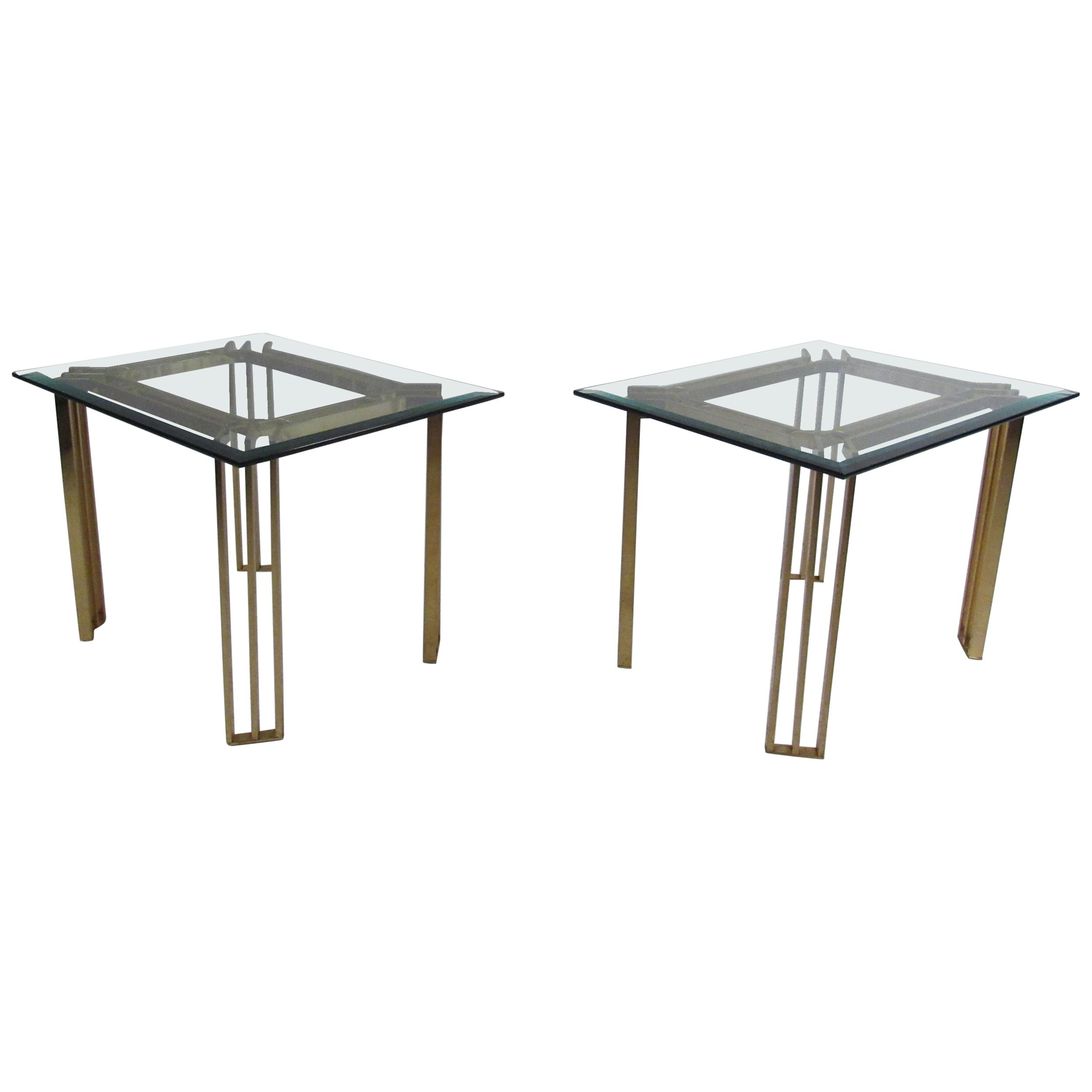 pair mid century modern brass end tables with glass tops for master table top antique gray nightstand ashley furniture nesting stickley scottsdale stainless steel bathroom shelves