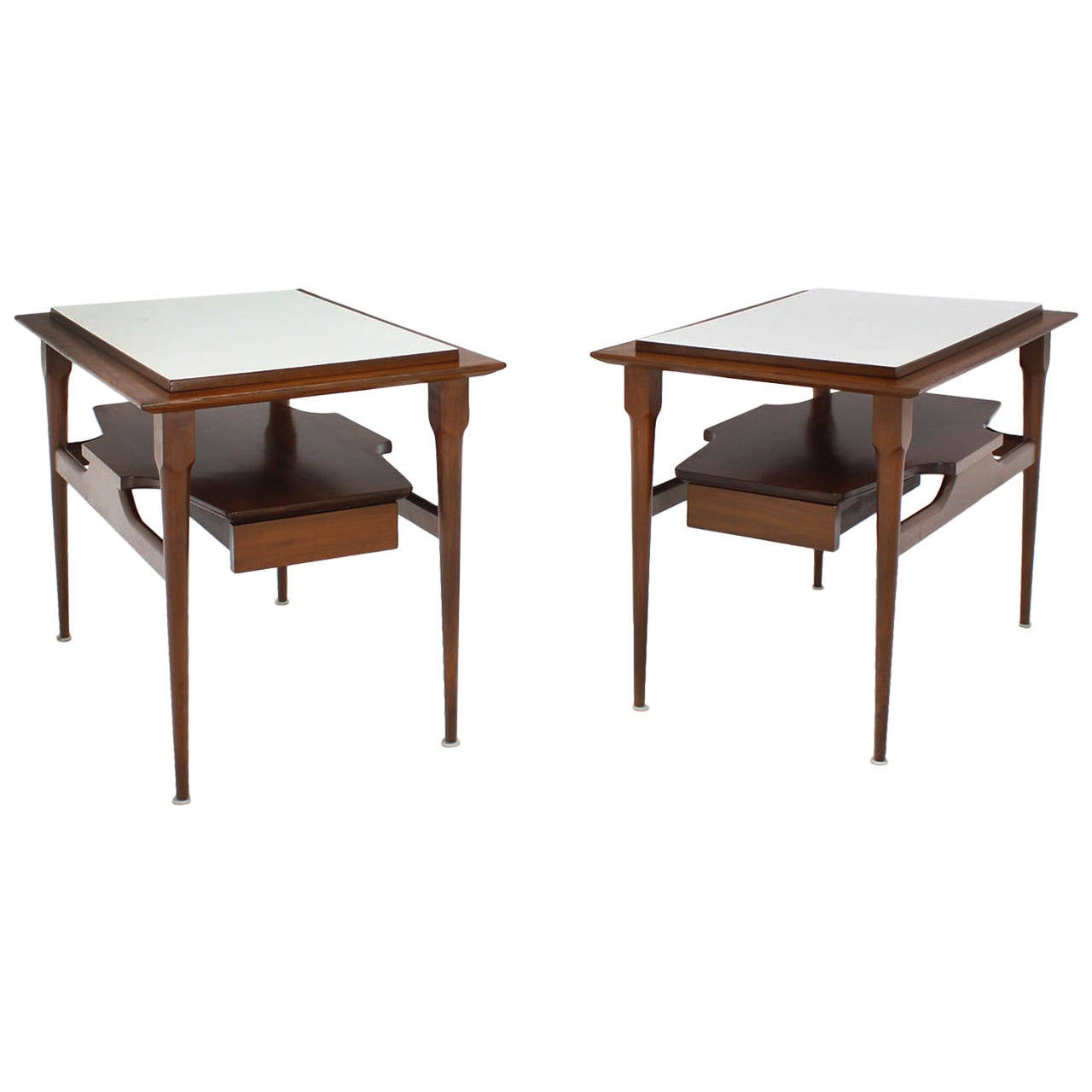 pair mid century modern walnut one drawer end tables night table with stands for white and copper side french country furniture direct urban lodge target metal accent glass top