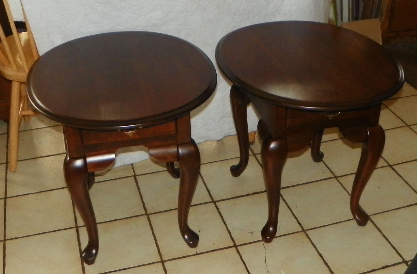pair solid cherry oval end tables side and similar items broyhill previous unfinished wood company kmart black stools dark brown living room table small bedside stand french