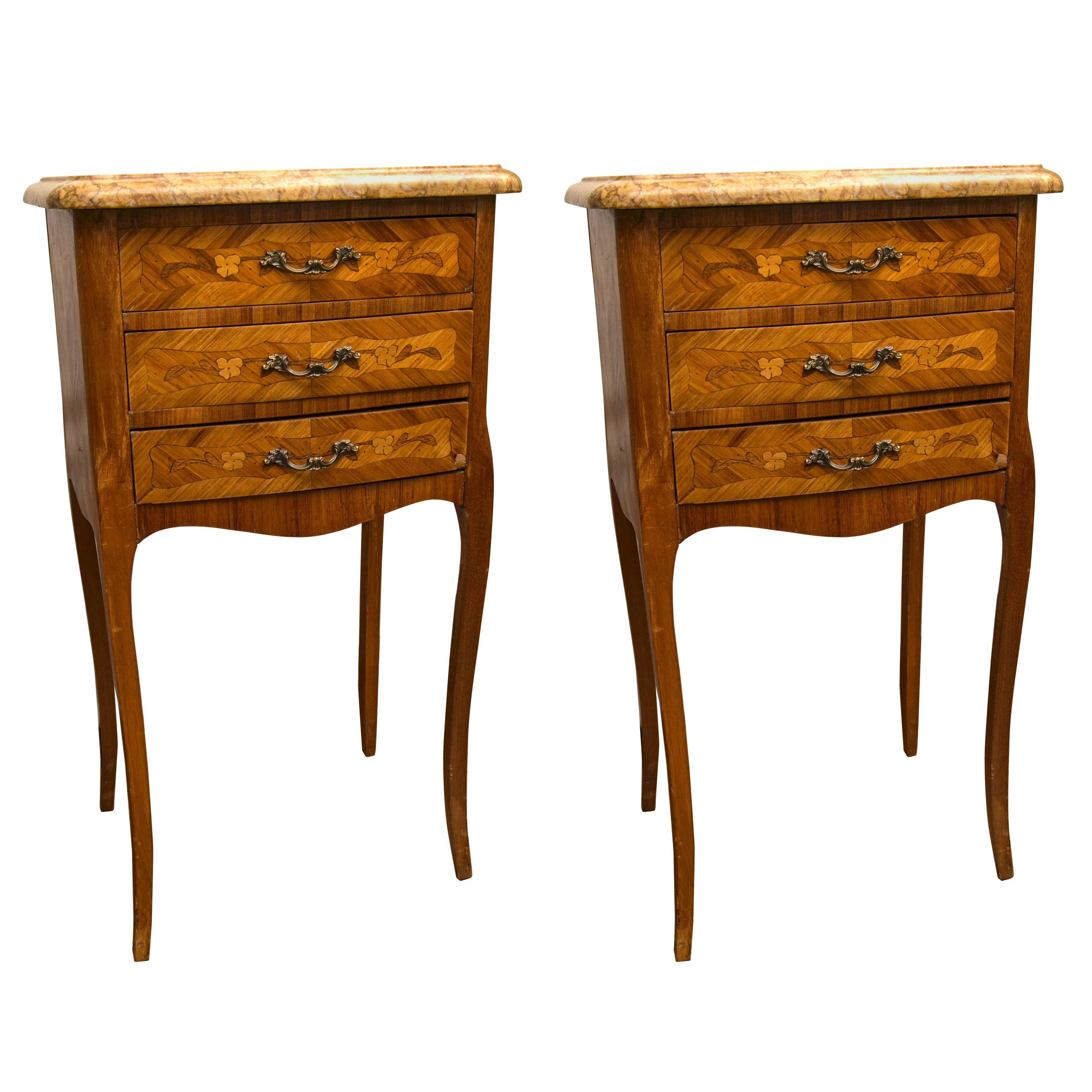 pair three drawer marble top bedside end tables for master table with drawers parawood coffee wooden dog travel crate liberty beds mainstays desk instructions postmodern furniture