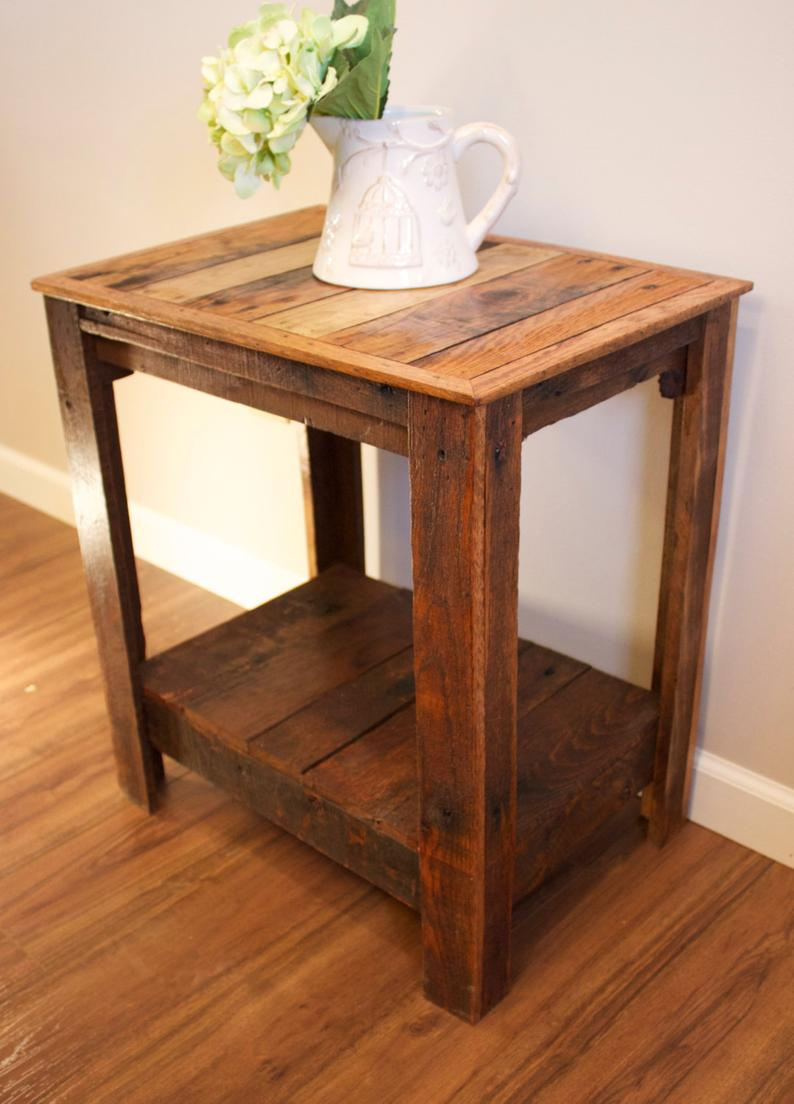 pallet end table nightstand accent etsy acme furniture company teal blue side red painted wood craigslist west elm coffee unique kitchen tables slim console with storage kmart