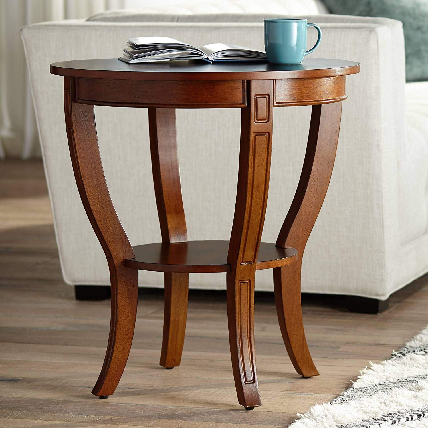 patterson americana wide cherry wood round end table kitchen dining ethan allen console white patio with umbrella hole tree root universal room furniture monarch specialties