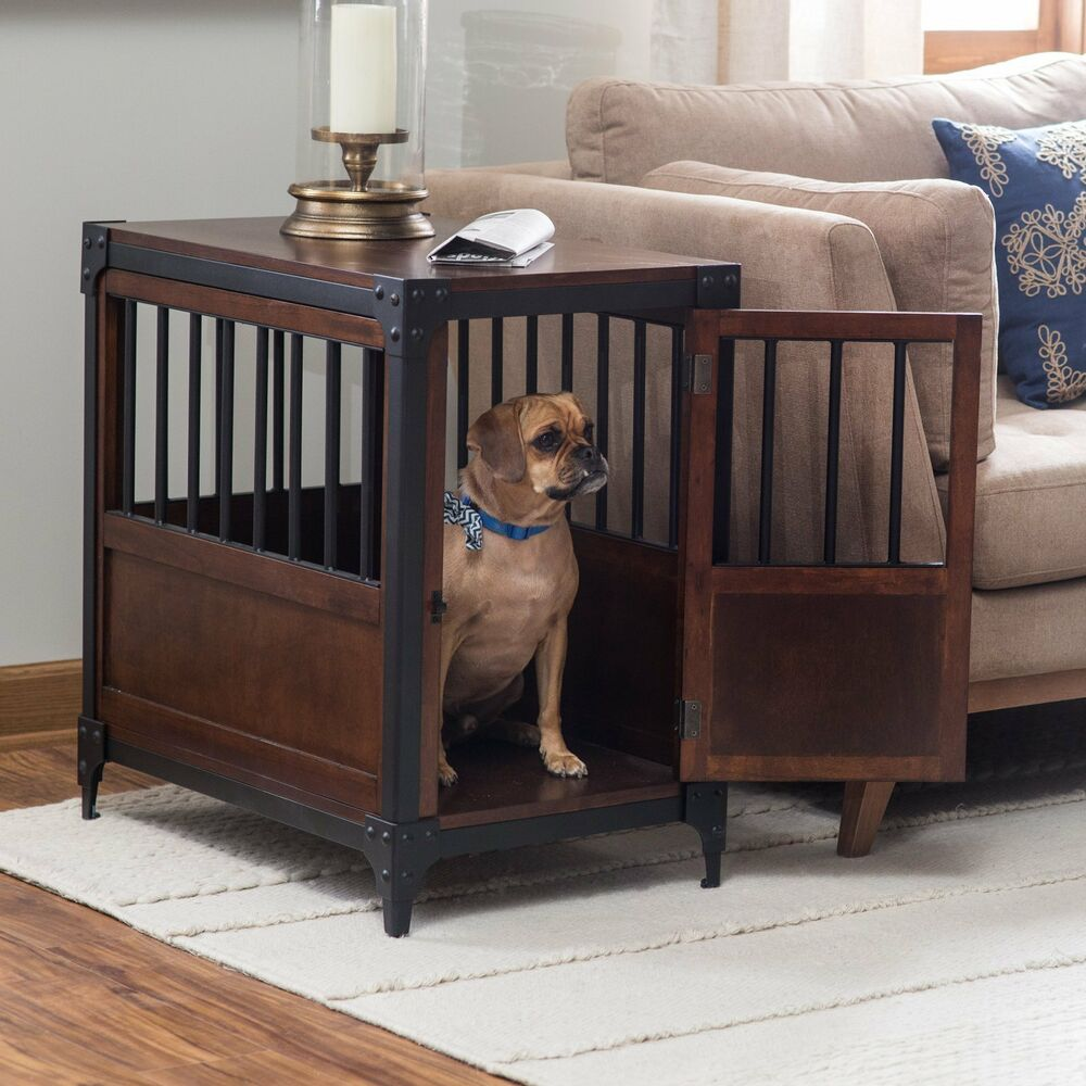 pet crate end table dog furniture kennel indoor cage wood wooden details about side large room sided tables under magnolia home mirror top ethan allen full length unfinished