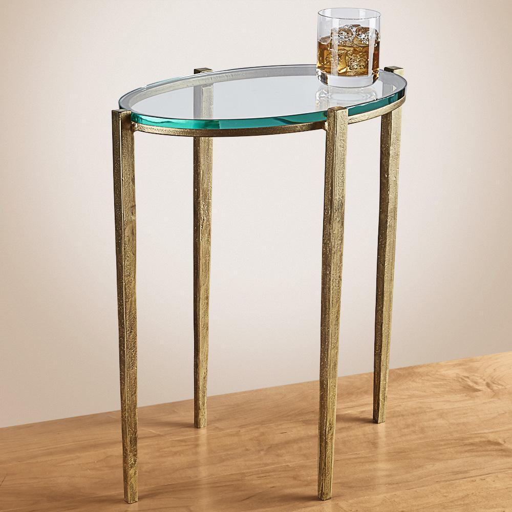 petite oval glass accent table antique gold the nines end manitowish waters round marble top cocktail living room tables broyhill fontana set amish cherry furniture ashley