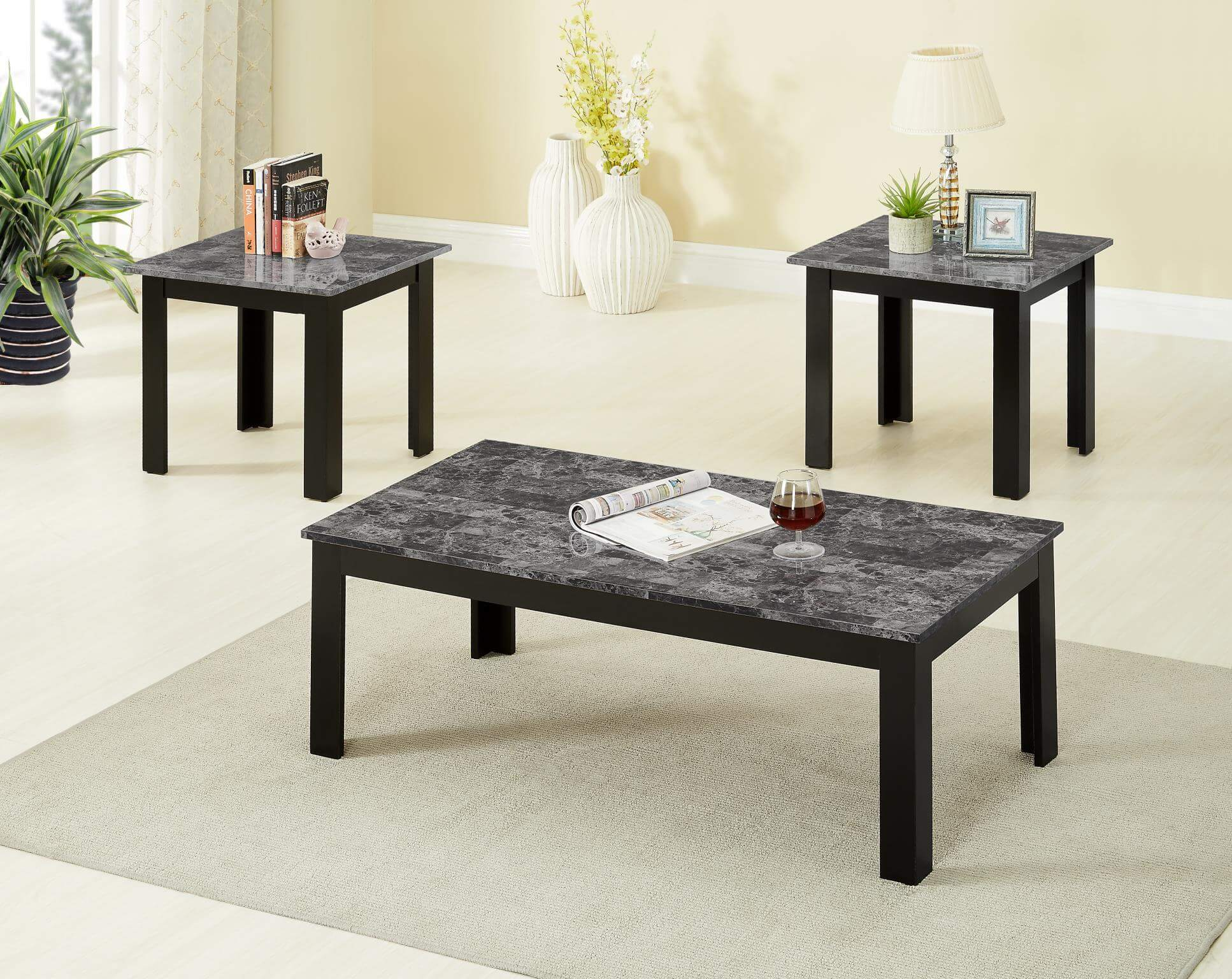 piece black faux marble coffee and end table set sets global trading inch high sofa small industrial side bedroom furniture with desk missions painted solid wood under counter dog