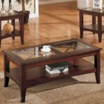 piece glass dark brown finish living room table set furniture wood coffee and end tables back fire pit cover brooklyn leather sofa broyle hill clear plastic side painting company 150x150