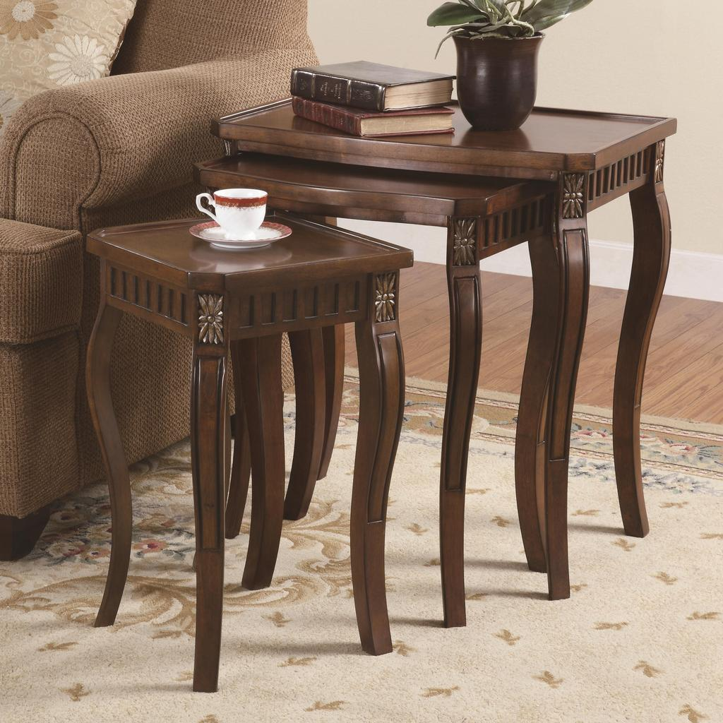 piece nesting tables brown cherry finish coaster end this three nest will style your home decor comprised the two smaller stow away under largest table for michaels mission