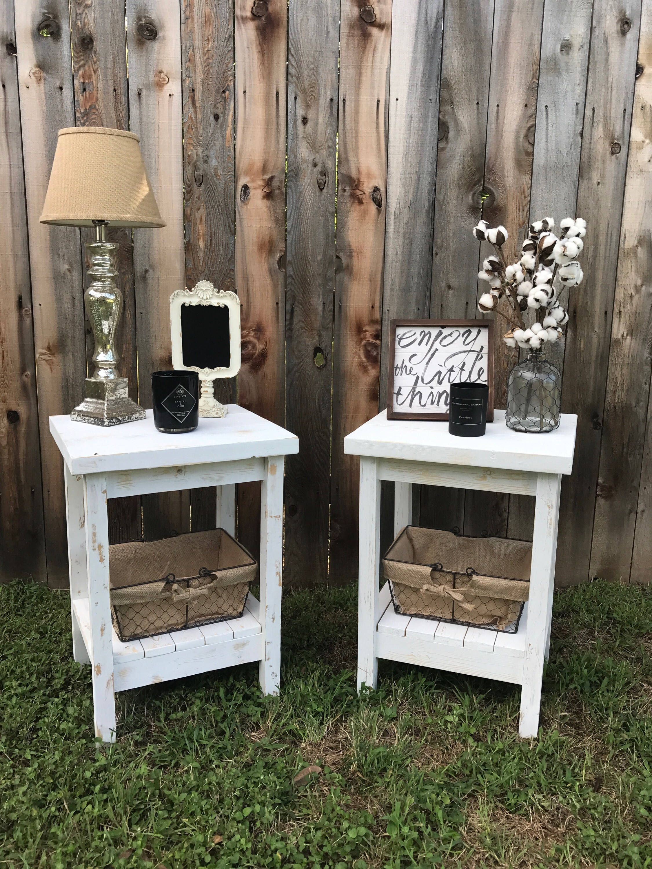 pin caitlyn vandiver future home diy bedroom decor end tables table night stand farmhouse fraleyfurnitureco etsy floor lamp set spray paint over wood stained furniture white with