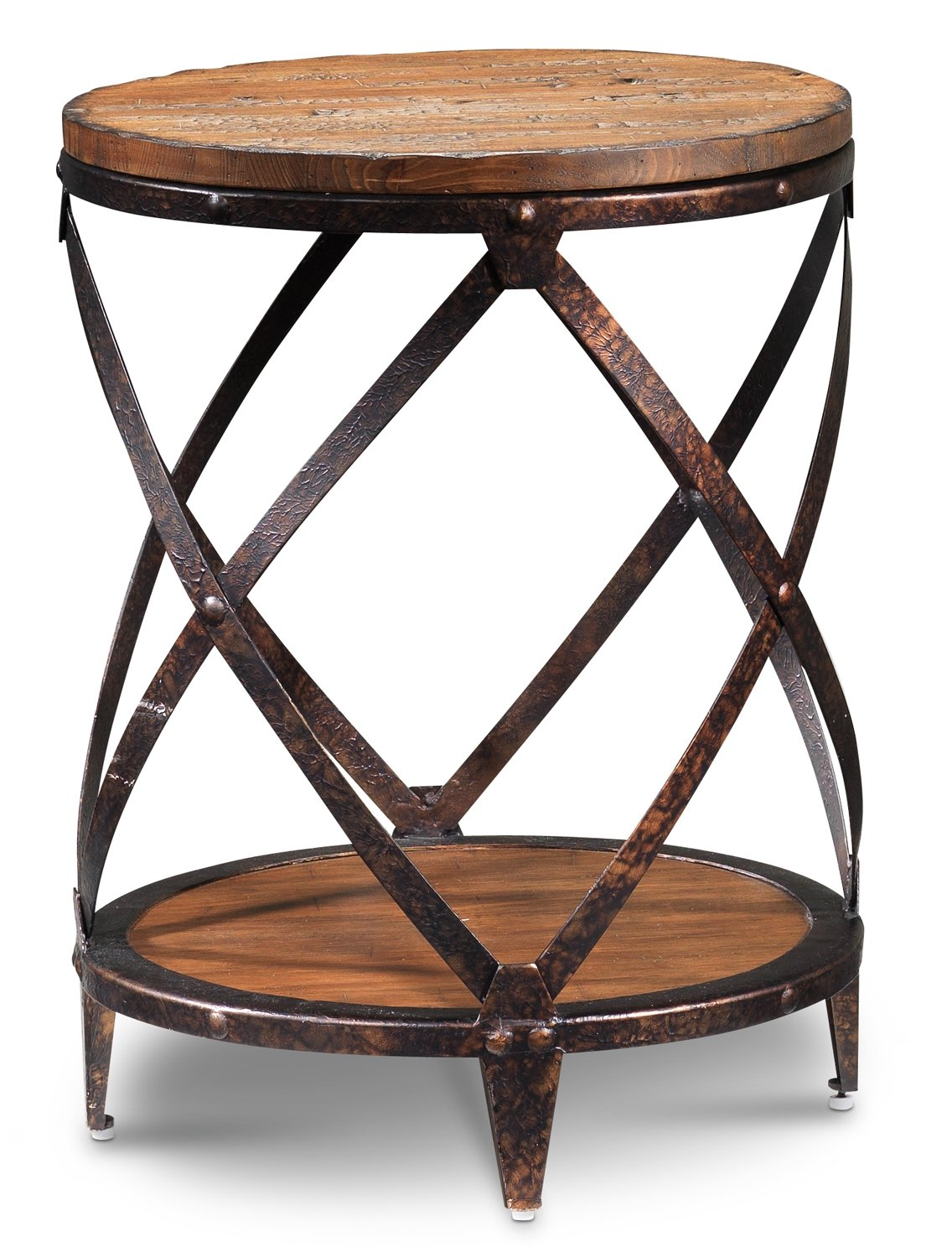 pinebrook round end table distressed natural pine leon macys furniture brands replace glass coffee with tile wood top living room tables dog crate cast iron pipe base acme marble
