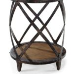 pinebrook wood iron round end table distressed natural pine roundendtable distressednaturalpine magnussen humble abode kmart outdoor pulaski brookfield bedroom furniture country 150x150