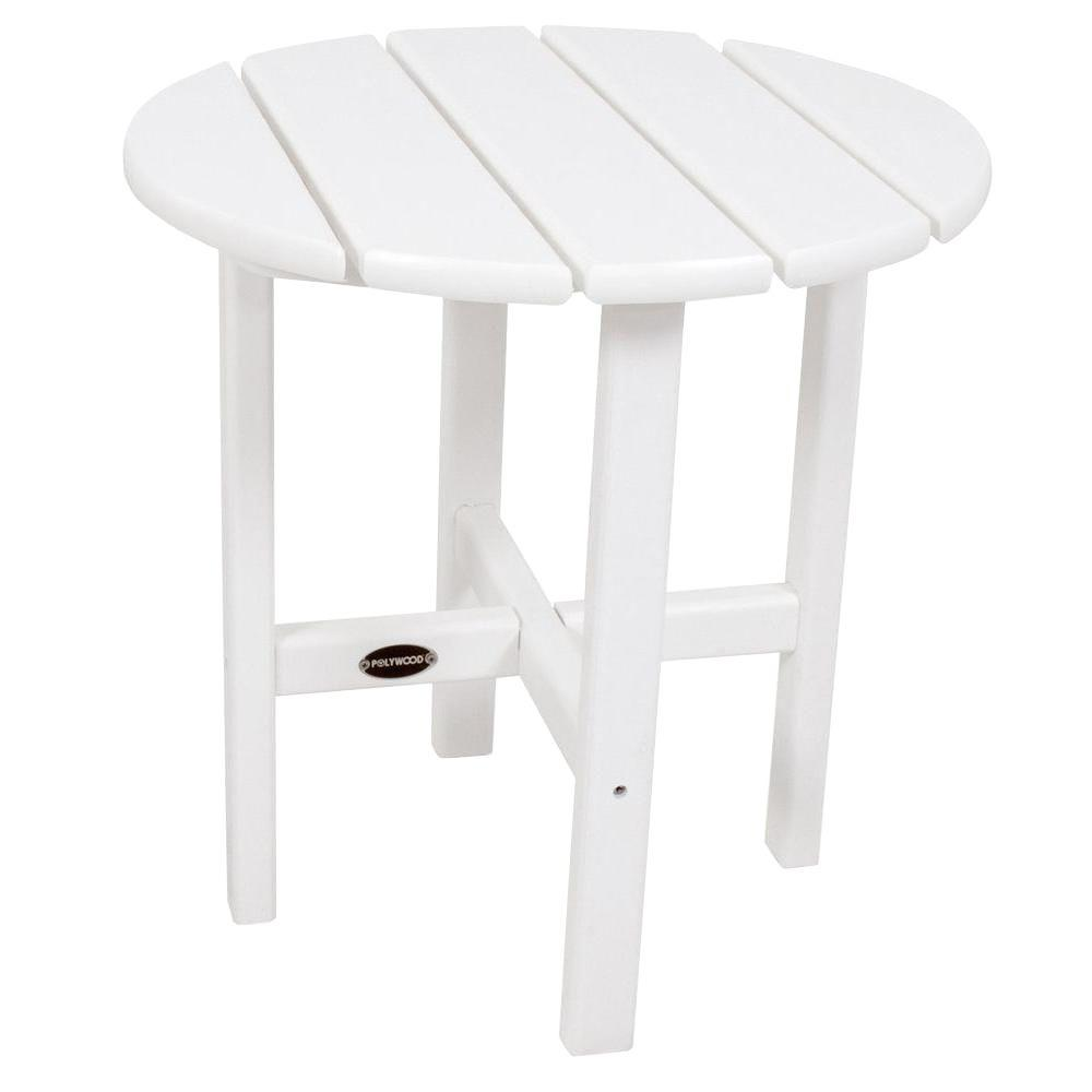 polywood white round patio side table the outdoor tables end unfinished dining room chairs eating lazy boy couch set high top glass vintage ethan allen desk inch wide bedside