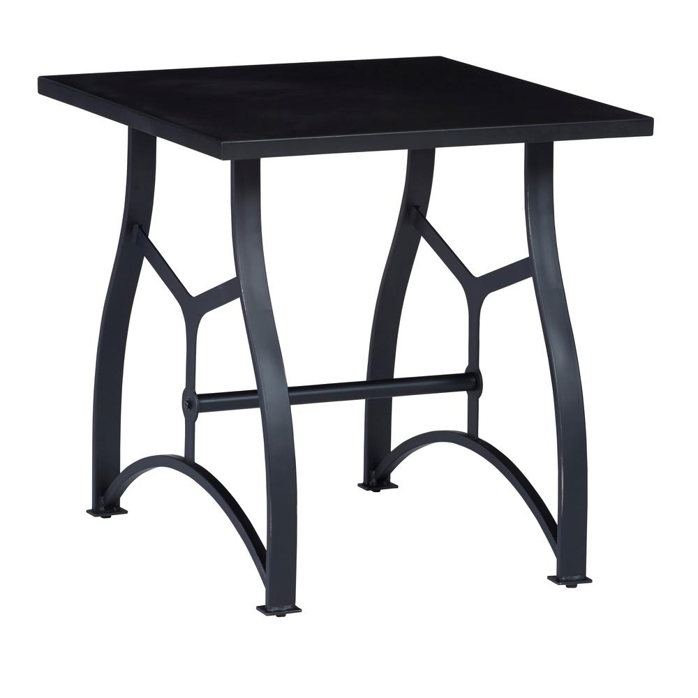 progressive furniture habitat matte black square end table coffee tables finish the coupon code for kmart small white plastic outdoor casa mollino cast aluminum pulaski leather