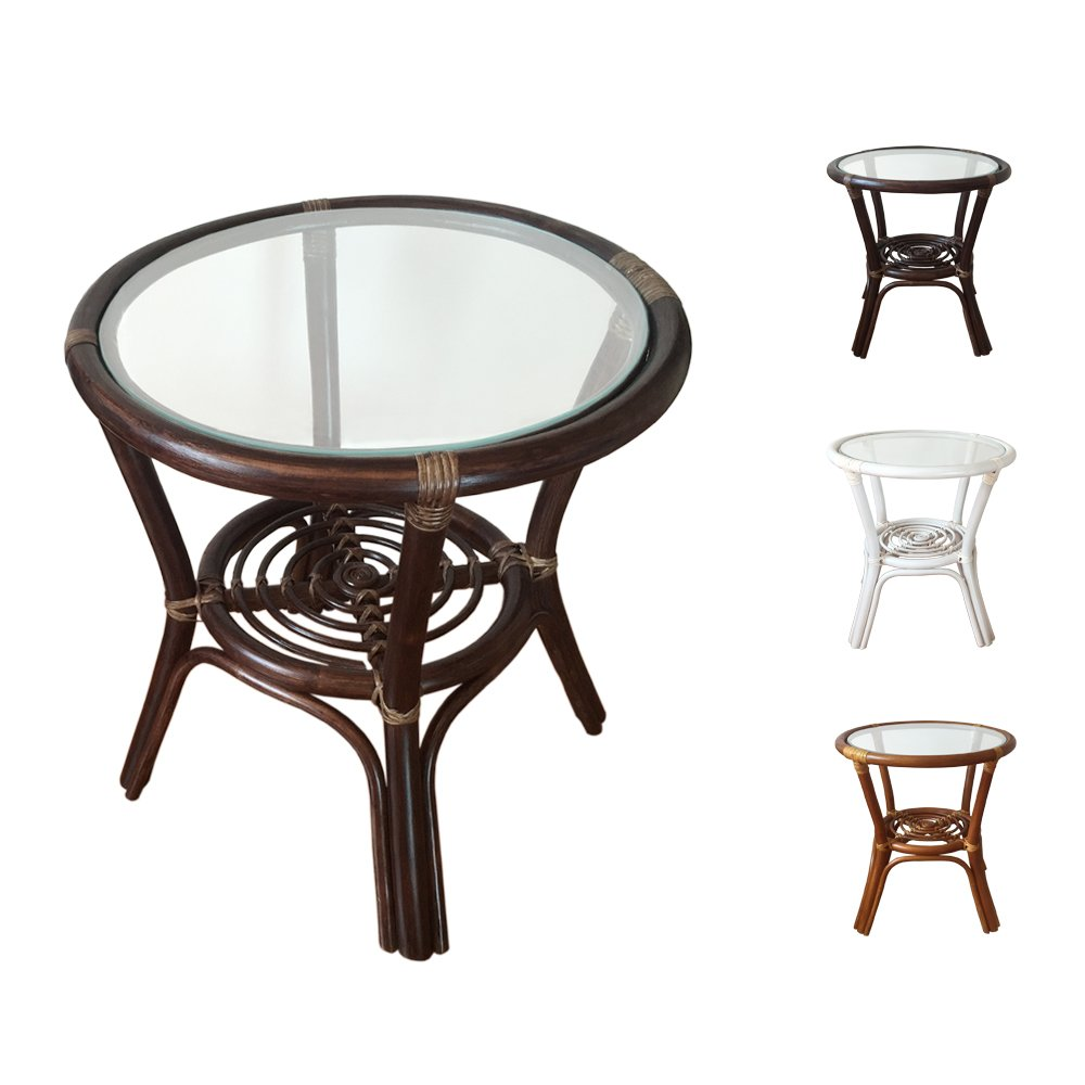 rattan round coffee end table model diana with glass top dark brown tables kitchen dining outdoor furniture grey living room leather couch royal sharjah patio side girls bedroom