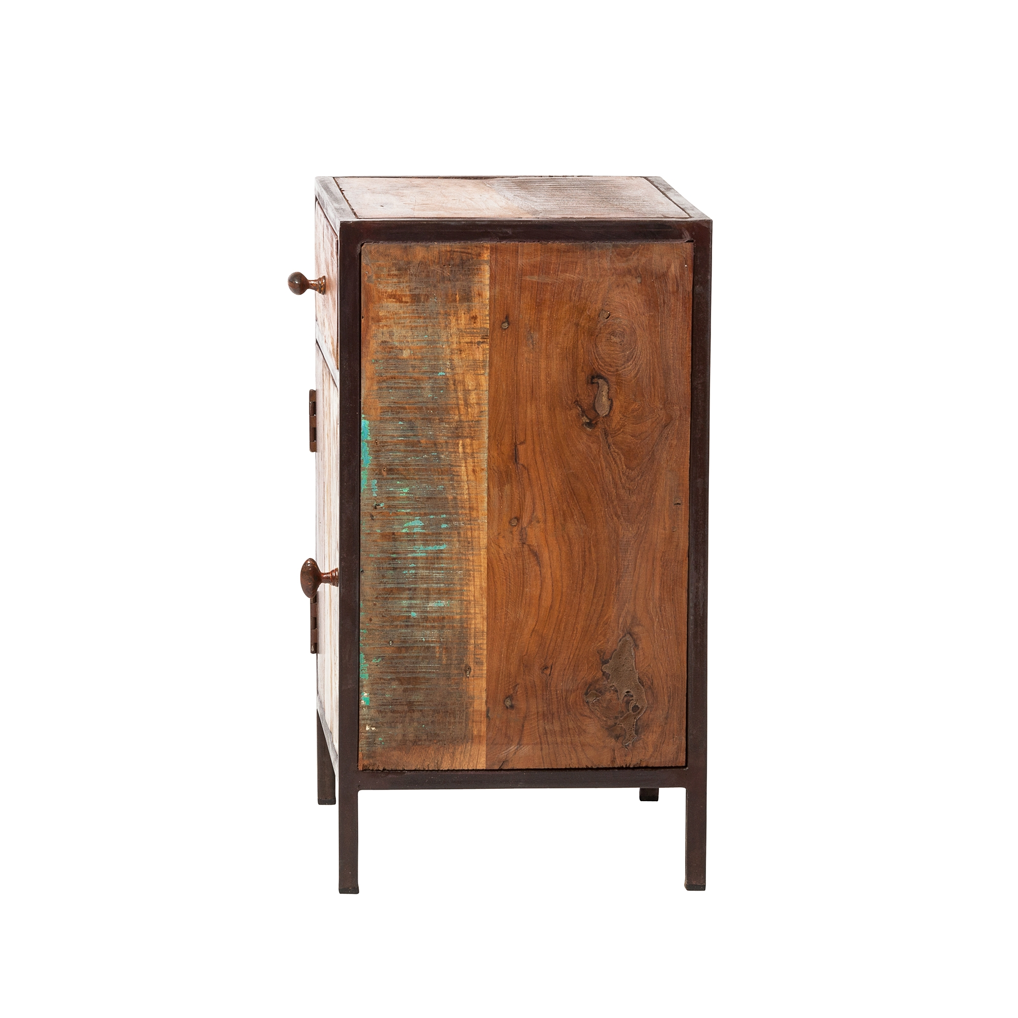 reclaimed mango wood nightstand with metal frame kha bedroom end tables dining table glass top replacement black cube coffee winners and homesense decorating brown leather liberty