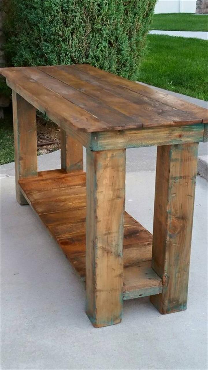 reclaimed pallet end table furniture console behind couch wood with drawers small round antique target lamps brown and cream coffee universal industries magnolia homes houston