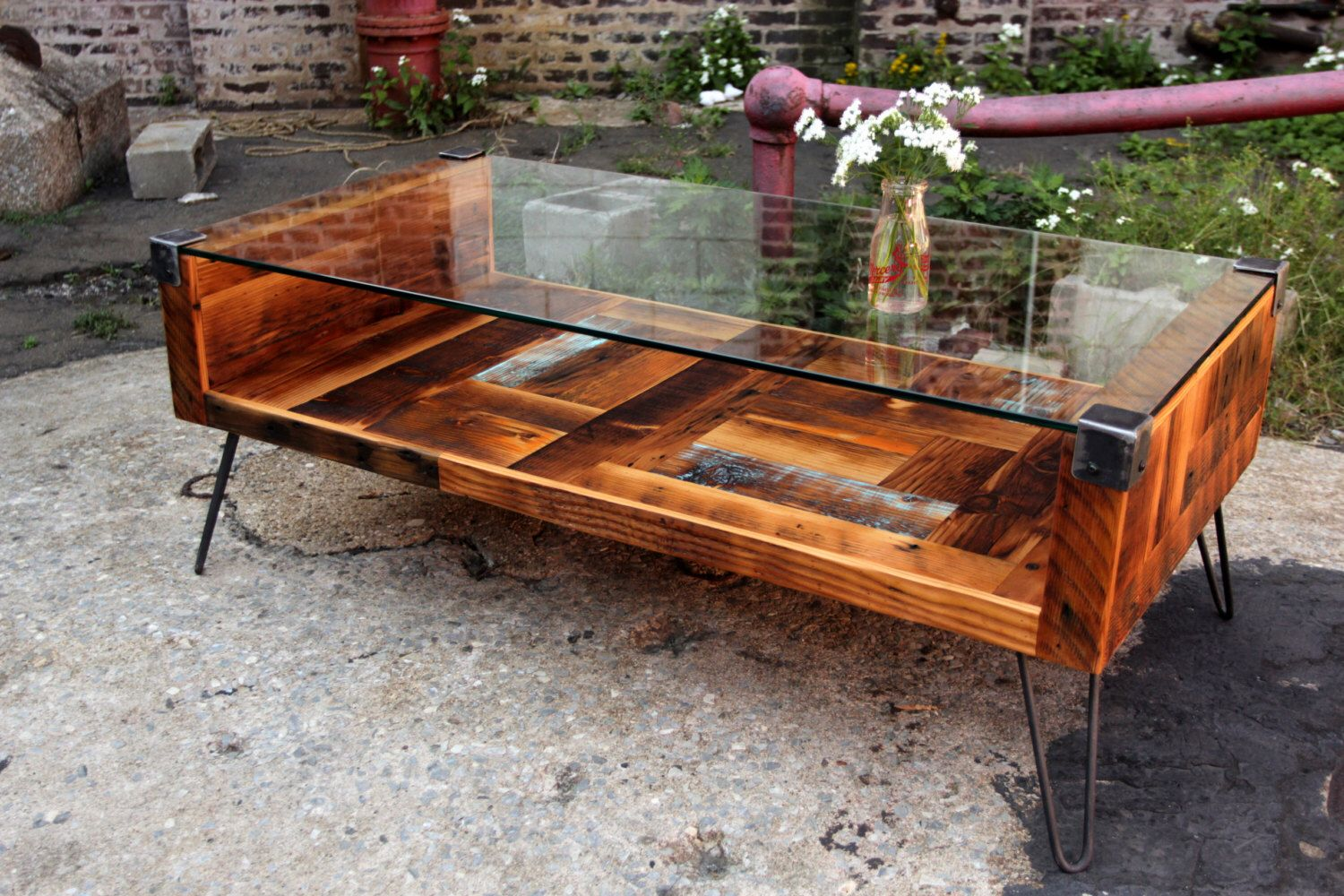 reclaimed wood tempered glass top coffee table tables end with and recycledbrooklyn etsy stanley headboard unfinished parsons desk universal furniture english manor bedroom square
