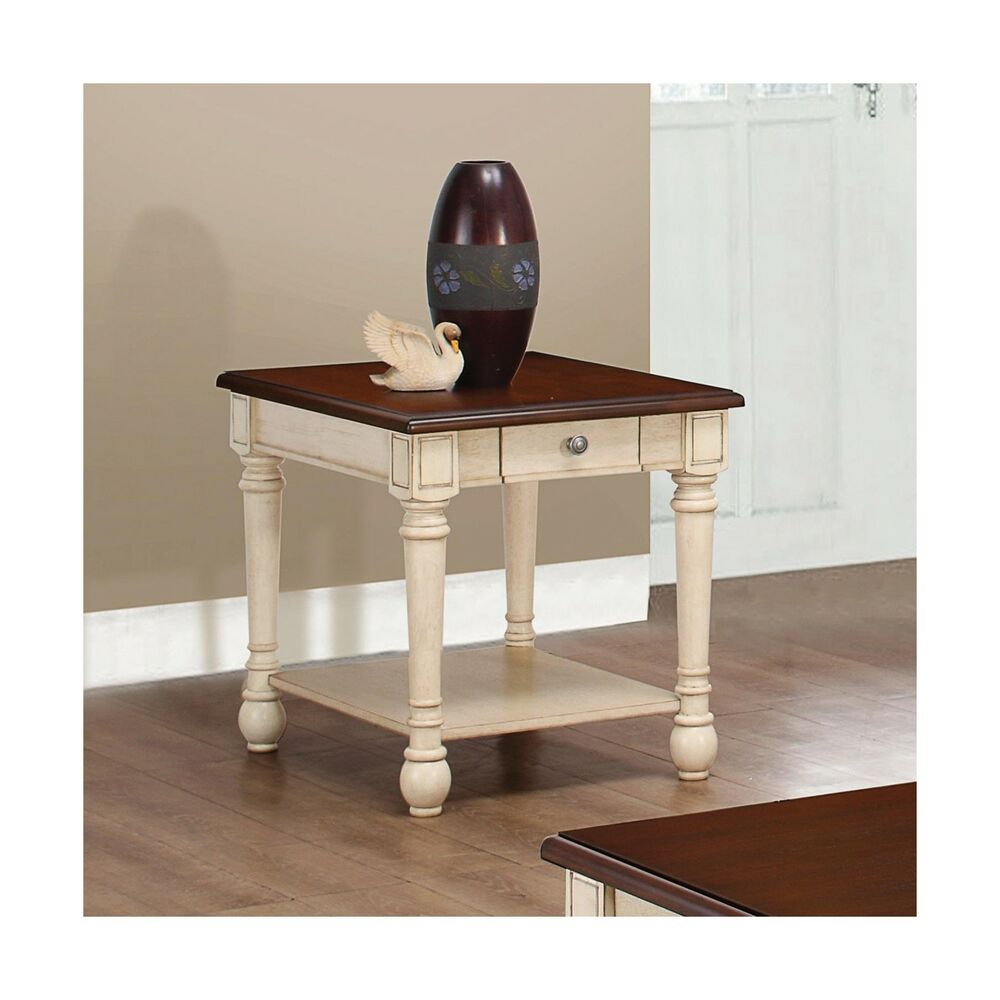 rectangular end table dark brown and antique white cherry wood tables details about mfg furniture oriental stacking coffee entertainment center set square gold oak jolly royal