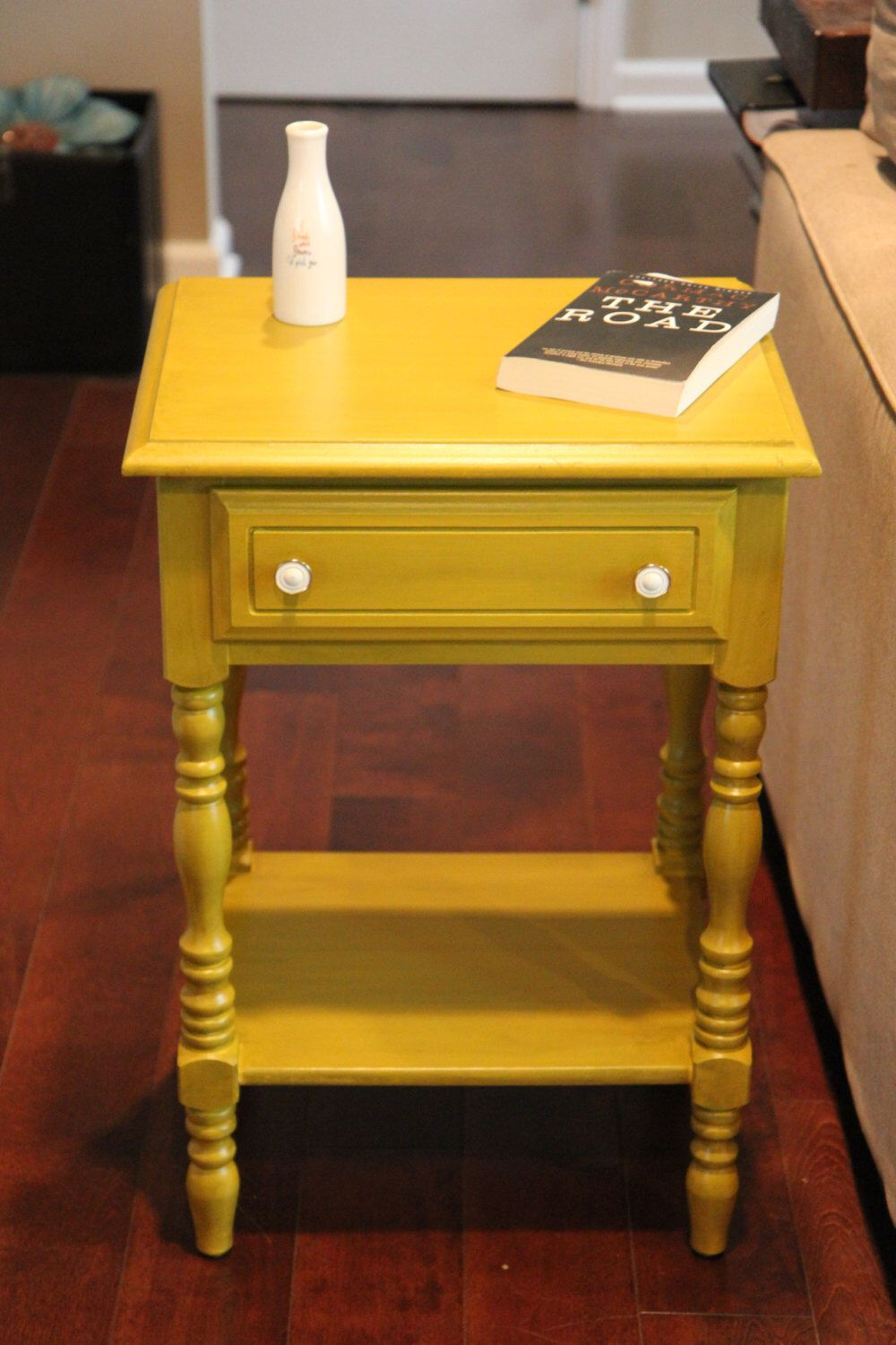 reserved for heather mustard yellow painted nightstand bedside elkton end table three drawer accent ladygucci etsy sofa behind sectional coffee over pallet wood round patio set