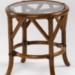 rivera round rattan end table with glass top tables dog crate rugs brown leather sofa french style armchair weekly time foot floor lamp john keal for saltman small side modern 150x150