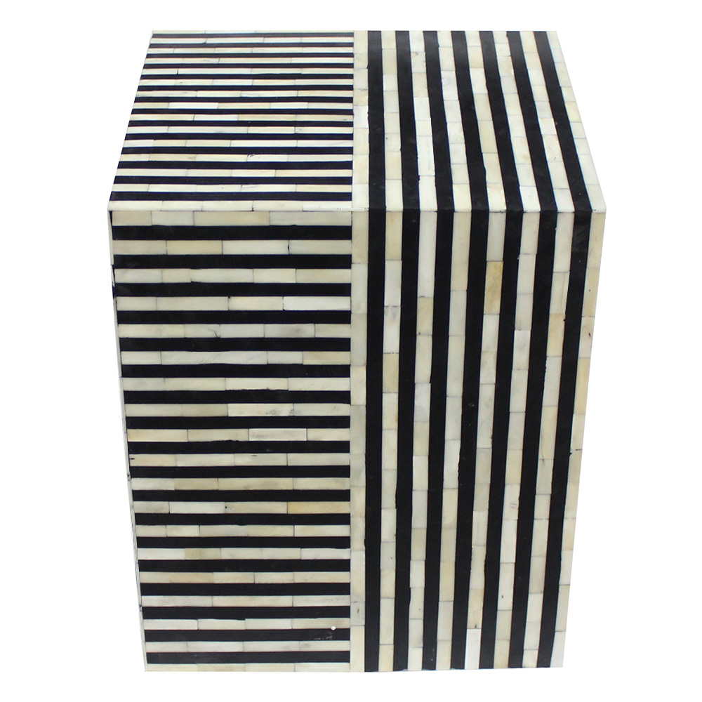 roomattic striped monochrome cube bone inlay stool end table side black mustard coffee broyhill floral sofa triangle shaped wood and wrought iron liberty furniture showroom