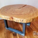 round coffee table live edge industrial tree slice log rustic and end tables furniture living room side natural wood maple slab distressed kitchen designer white circle ethan 150x150