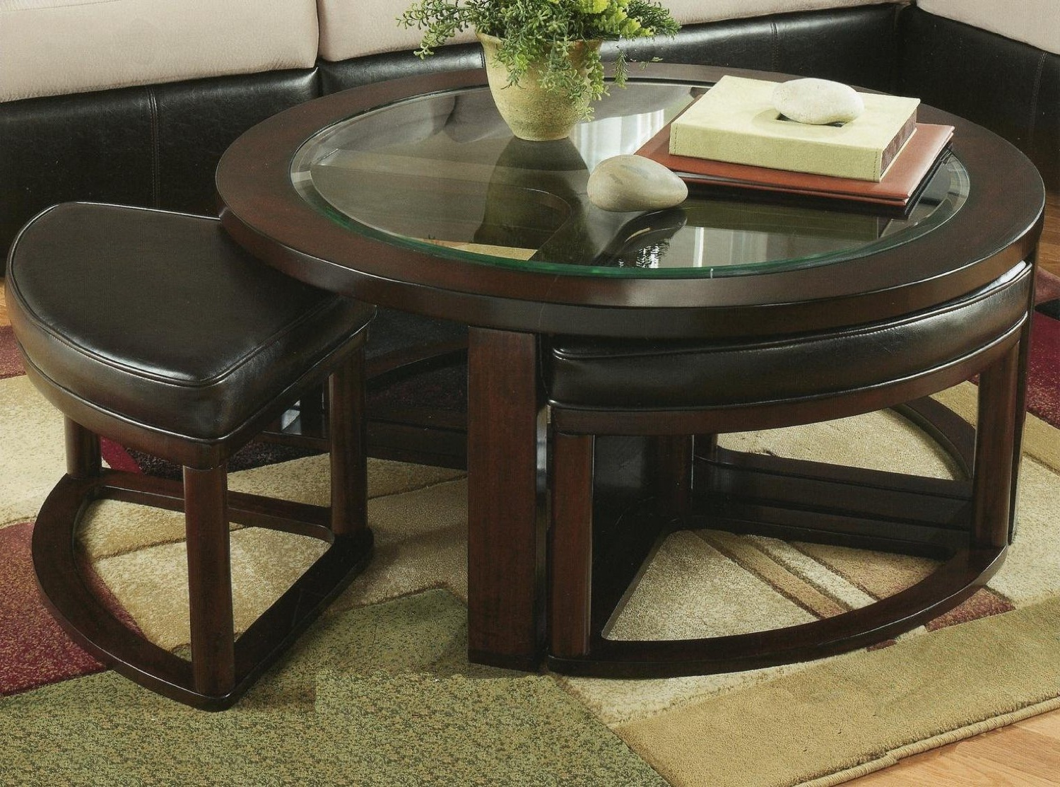 round coffee table with chairs furniture row top wood roundhill cylina solid glass stools underneath and end tables garage office dining black brown ashley living room suit ethan