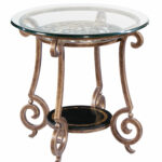 round end table base and glass top bernhardt iron tables with tops zambrano ethan allen dresser used outdoor side stool ashley sofa living furniture mission style accent black 150x150