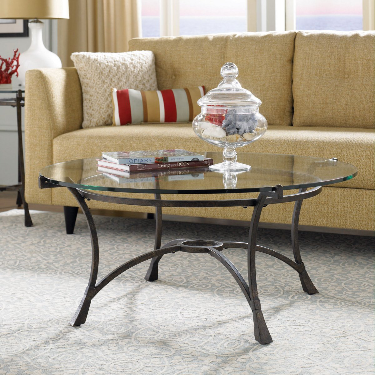 round glass top coffee table ideas decorating how decorate crate and barrel end decor ashley furniture corner primitive bedroom keepsakes pulaski homesense dinner sets tall
