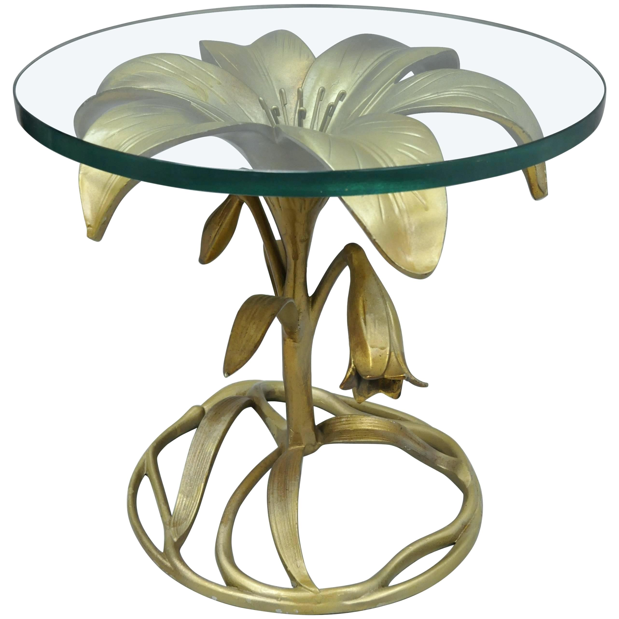 round glass top end table court lily leaf gold flower side cast aluminum for replacement rectangular outdoor patio tables whole lazy boy furniture dining wooden legs piece