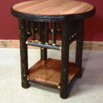 round hickory end table with solid shelf barn wood furniture log tables rustic barnwood and vienna woodworks west elm simple frame glass cover amish wooden chairs display small 150x150