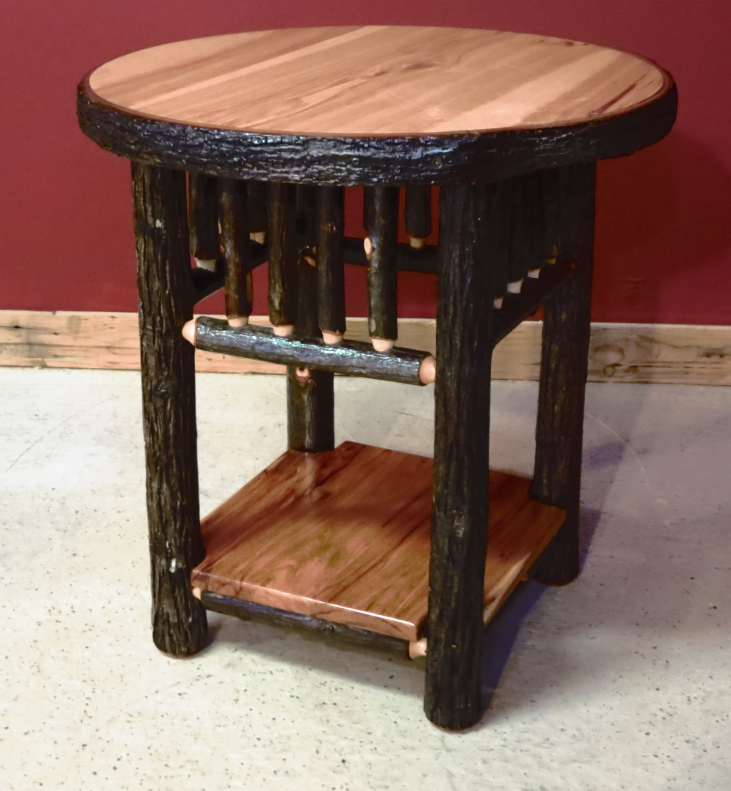 round hickory end table with solid shelf barn wood furniture log tables rustic barnwood and vienna woodworks west elm simple frame glass cover amish wooden chairs display small