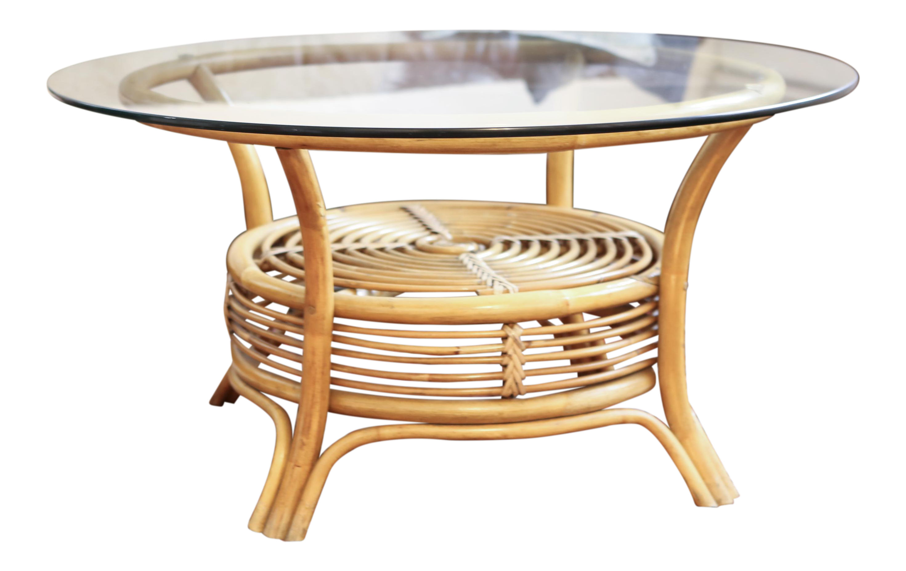 round rattan bamboo pencil reed glass top coffee table chairish and end off white black dog crate furniture toscana nest tables diy with drawer patio cleaner lexington