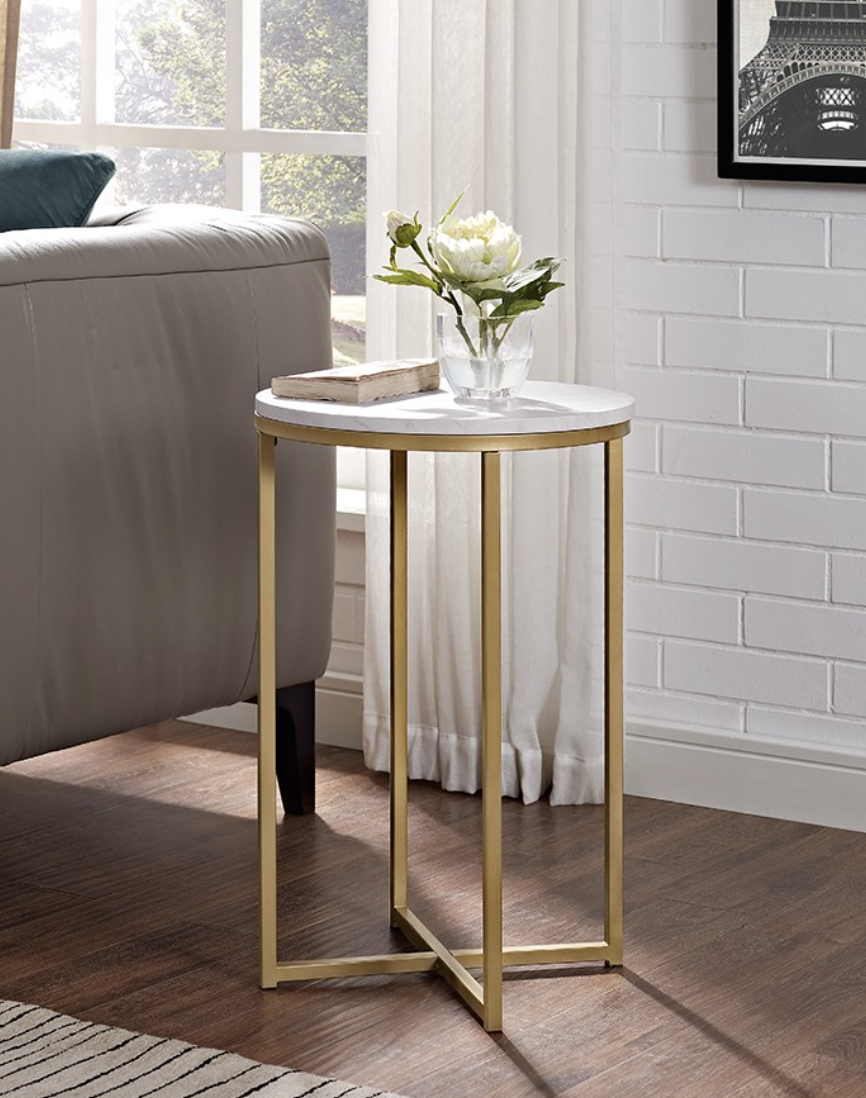 round side table gold glass saracina home steph new room target end tables coffee big green egg garden beds kmart dark brown bedside american furniture design rectangle lawn made