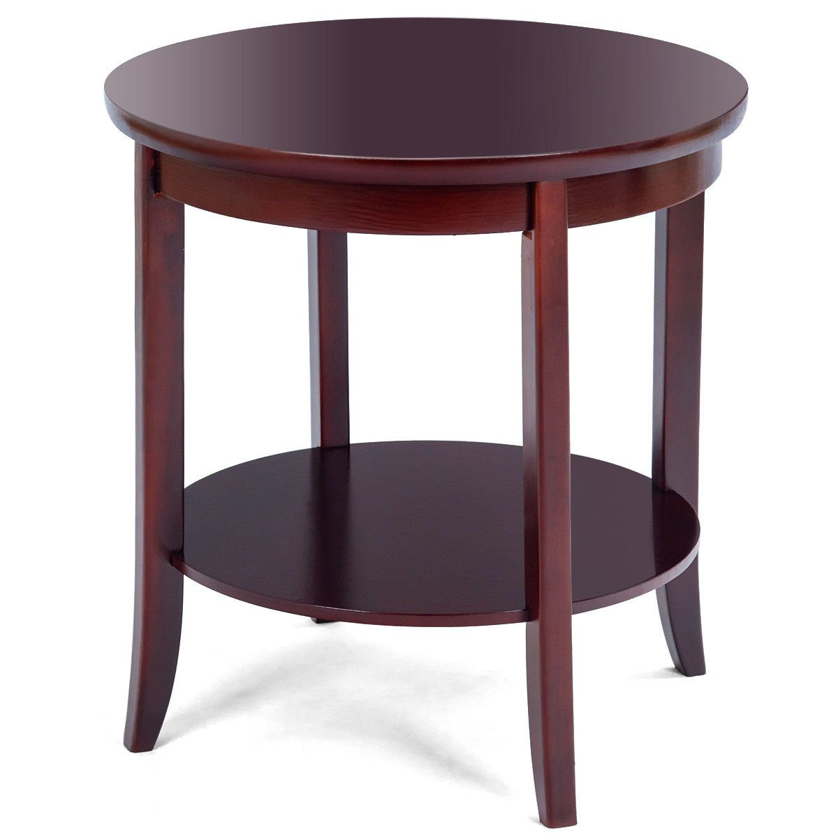 round wood end table sofa side coffee storage cherry finish shelf new kitchen dining chest blue couch living room kmart black carved elephant antique mission style furniture plans