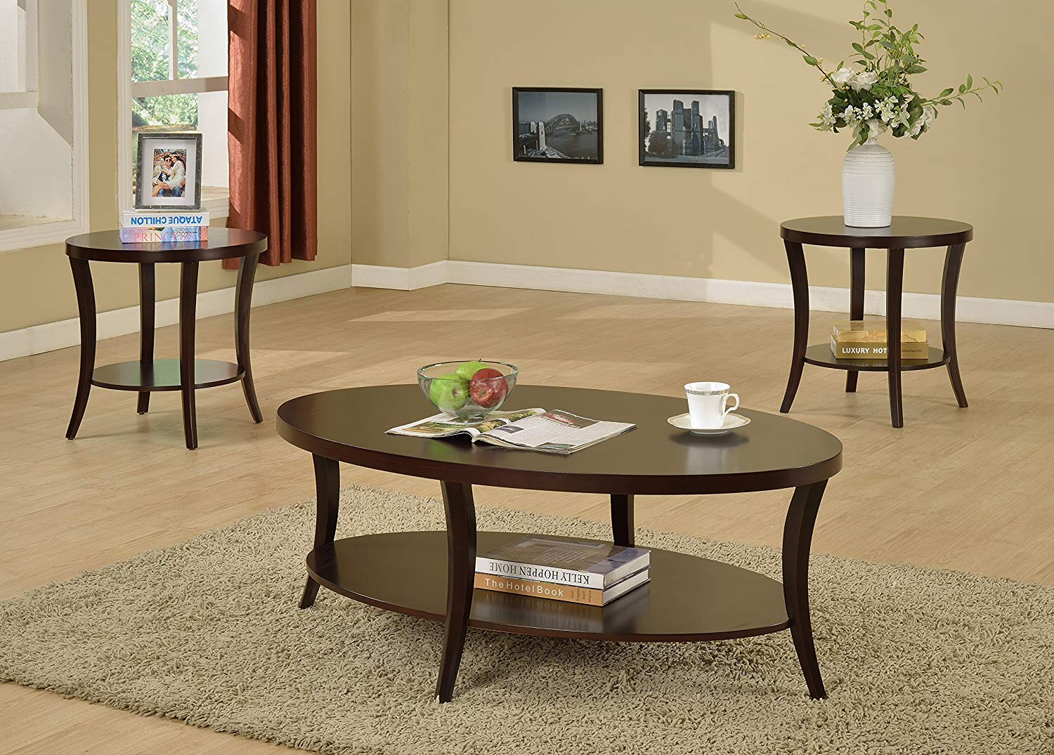 roundhill furniture oval coffee end altra table and tables piece set kitchen dining brown couch beige walls inch deep hall looking for sofa garden black glass bentwood