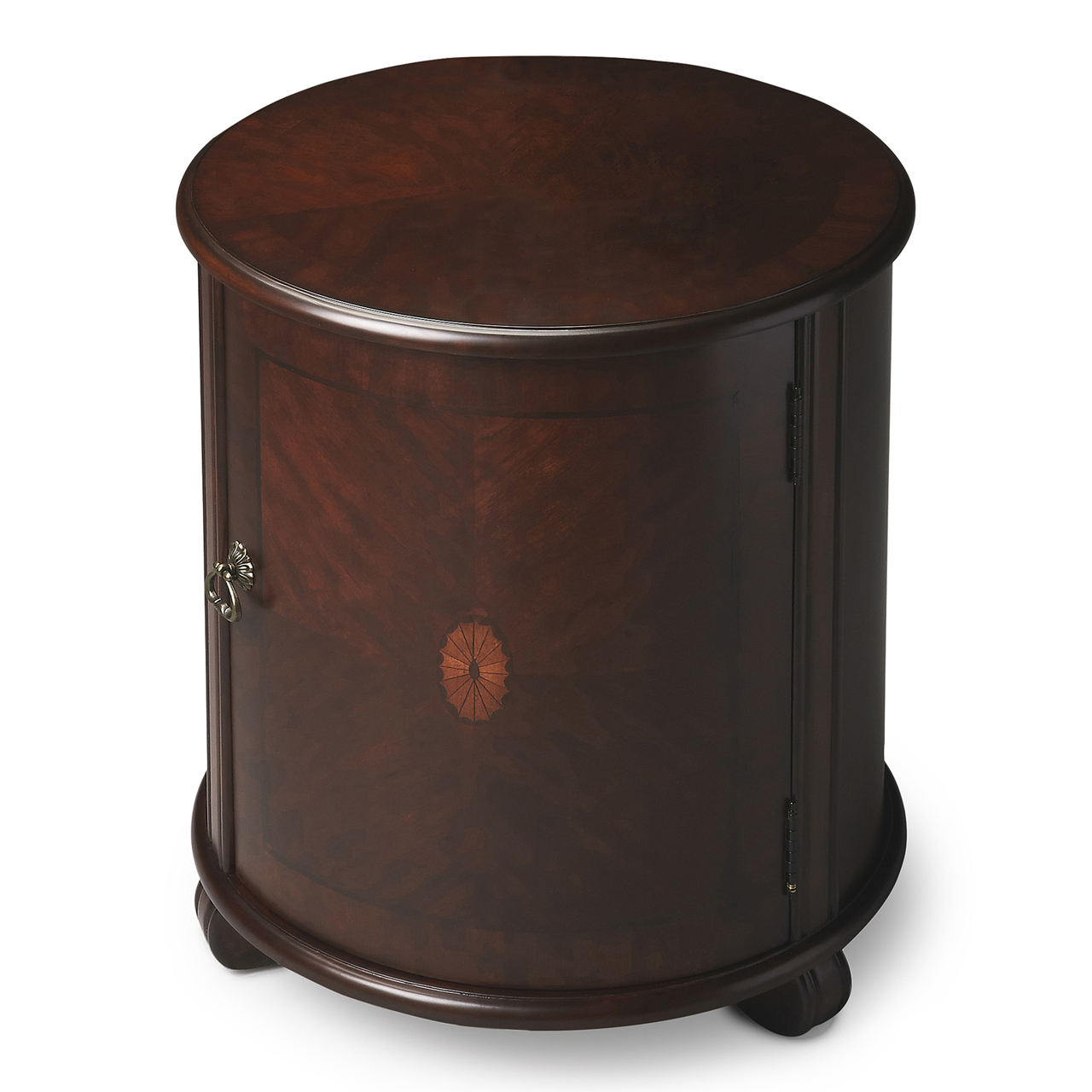 rushcliffe round inlaid drum table kensington rown tables end cherry finish categories mission style night glass top couch thomasville furniture row accent chairs brass lamps for