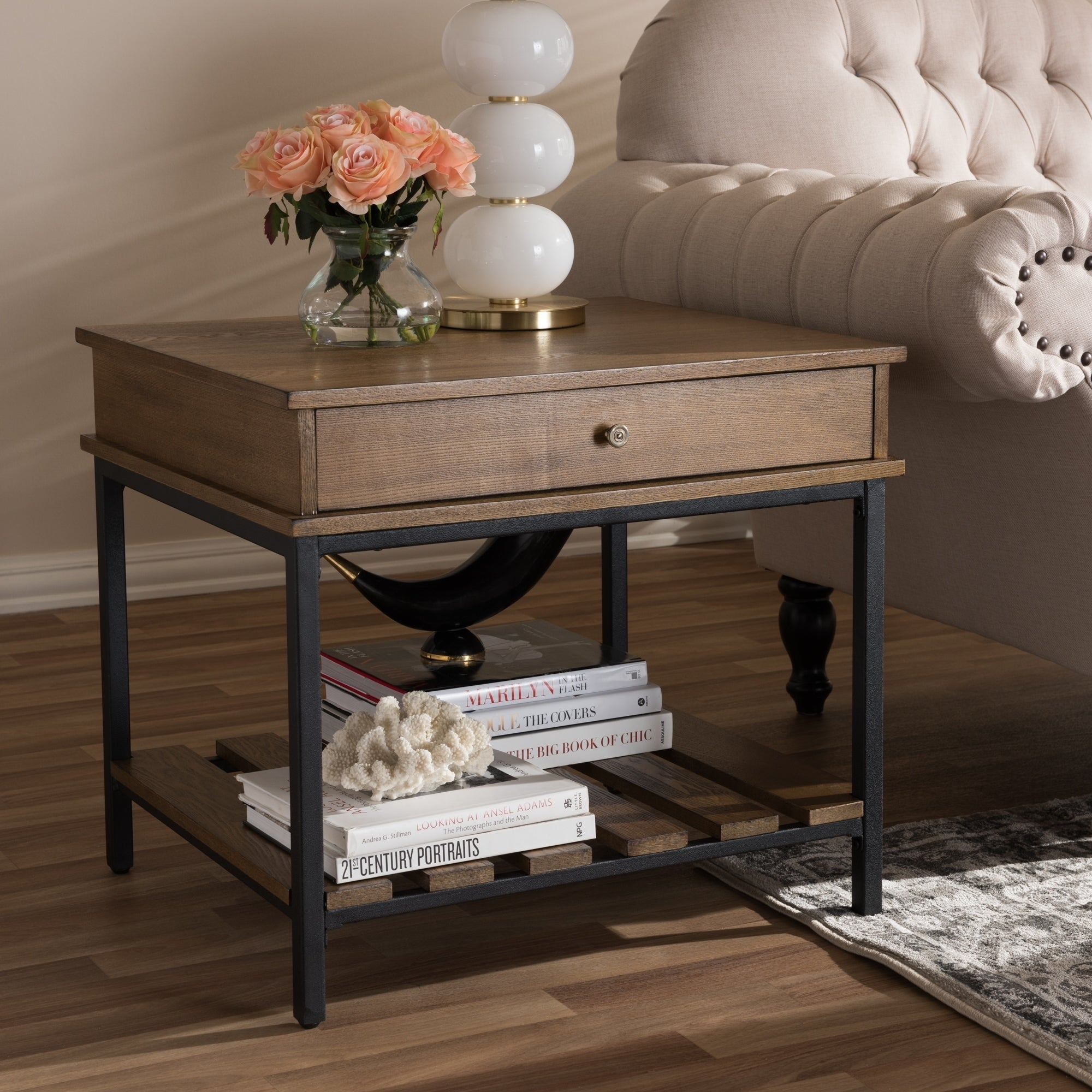rustic brown and black end table baxton studio free tables target teal painted lamp furniture house basket storage bentwood entertainment unit companies row credit card sign